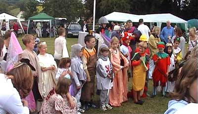 Some of the fancy dress contestants being judged